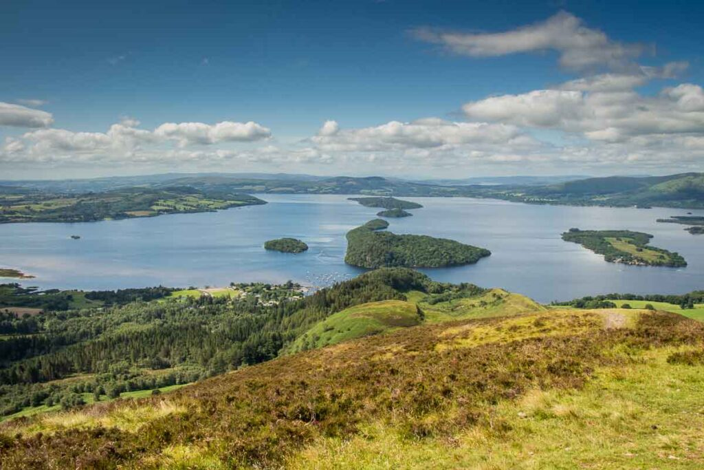 image of Loch Lomond from the summit of Conic Hill, which is a family friendly hike in Loch Lomond National Park