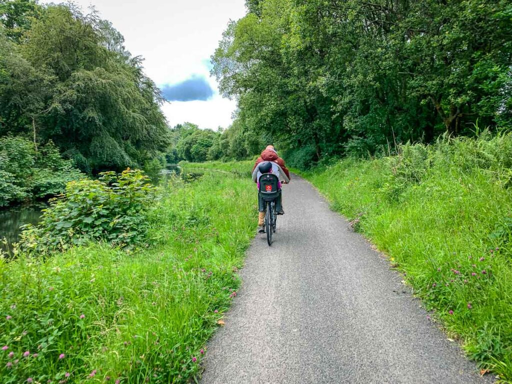 image of cycling the Forth and Clyde Canal Towpath near Glasgow Scotland