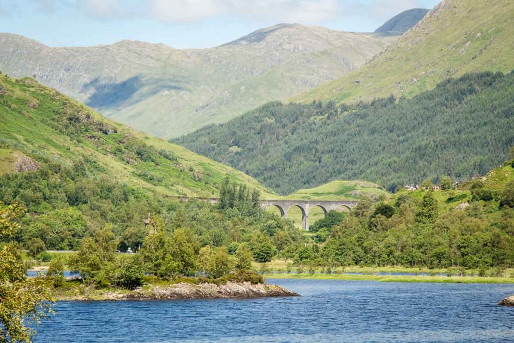 Image of Loch Shiel and The Glenfinnan Viaduct surrounded by mountains in Scotland