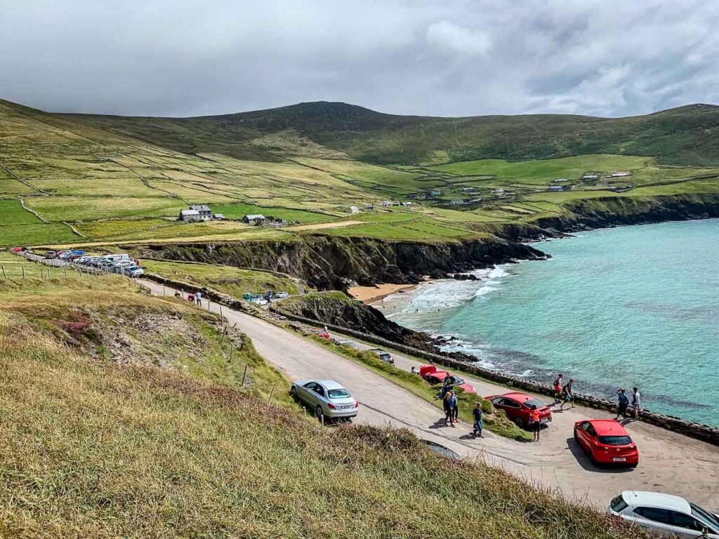 image of parking along road for Dunmore Head Loop on Dingle Peninsula