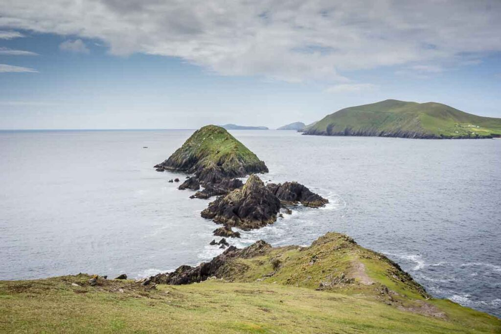 image of the view of the ocean and small islands from Dunmore Head Loop trail on Dingle Peninsula