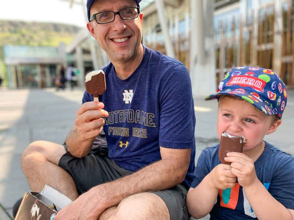 Image of father and son eating ice cream in Edinburgh