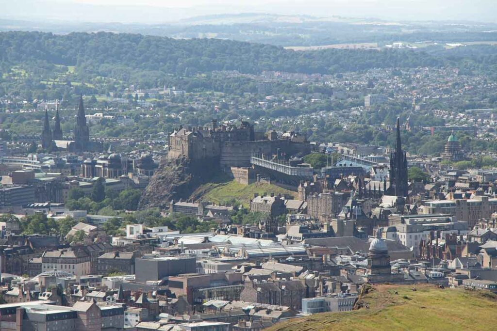 image of view from Arthur's seat hike in Edinburgh Scotland