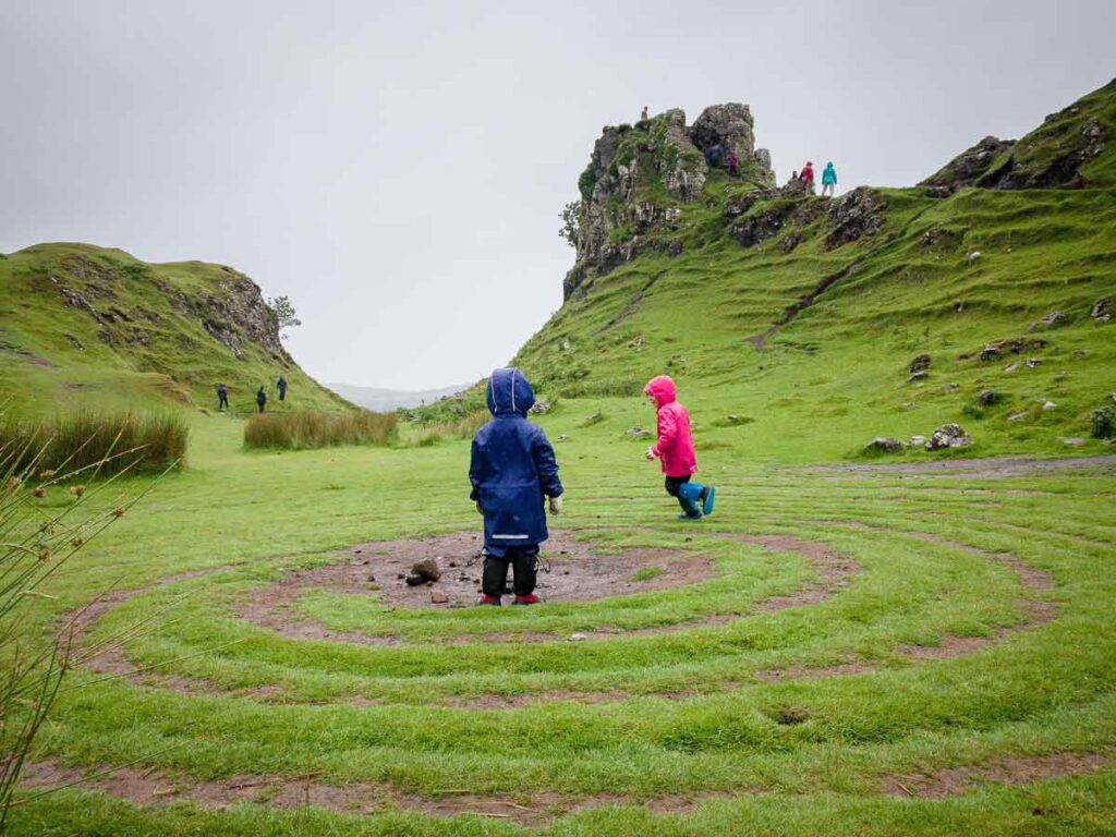 image of two kids at the Fairy Glen on Isle of Skye
