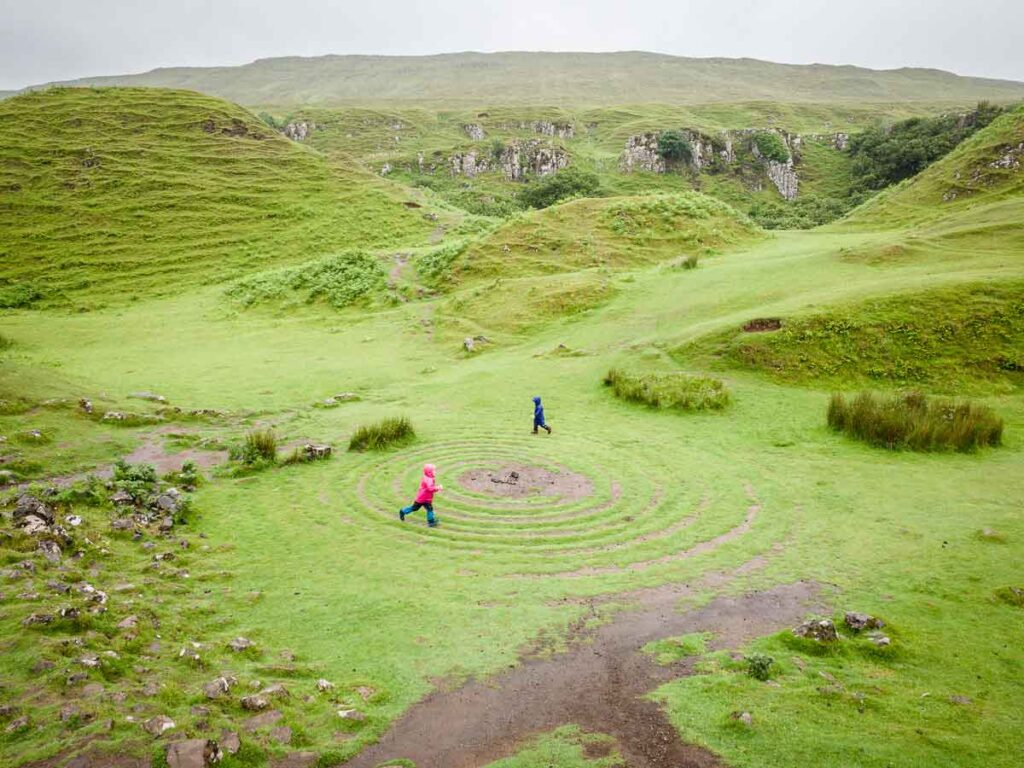image of kids on the spiral at the Fairy Glen Isle of Skye