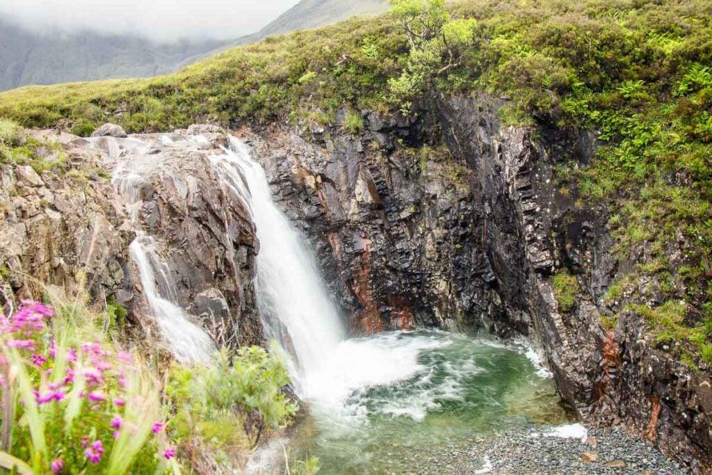 image of waterfall and fairy pool on isle of skye scotland