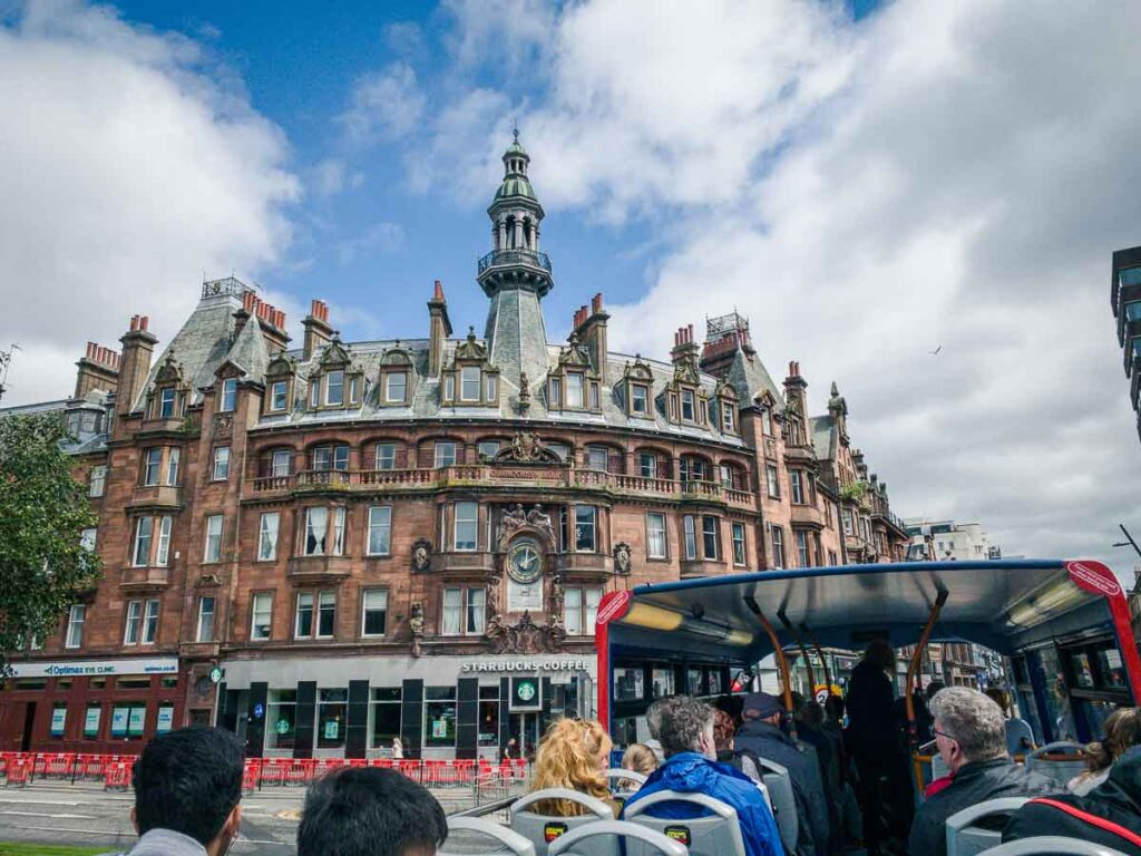 image of buildings in Glasgow from Sightseeing Hop On Hop Off bus
