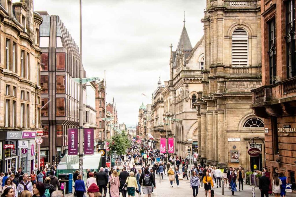 image of pedestrian street in Glasgow Scotland