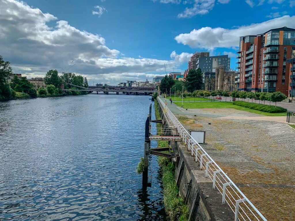 The kid-friendly pathway along the River Clyde in Glasgow, UK
