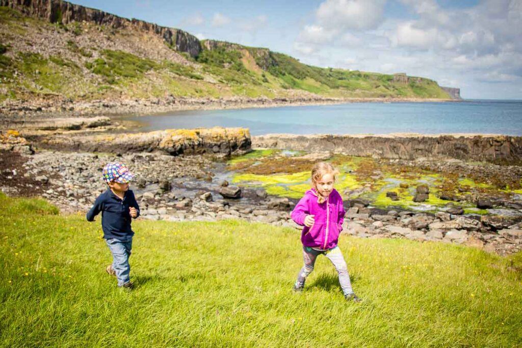 image of kids hiking Brother's Point on Isle of Skye