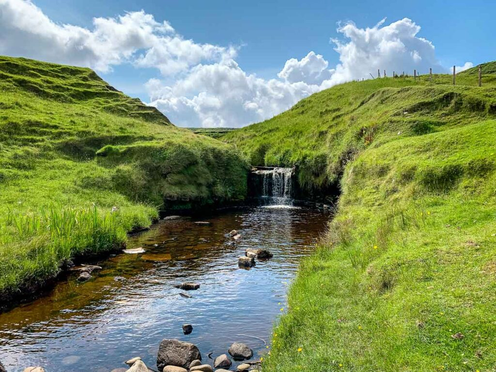 image of waterfall and stream along Brother's Point hike on Isle of Skye