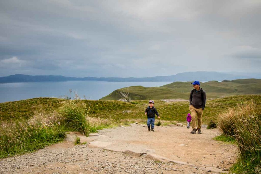 image of hiking old man of storr with kids
