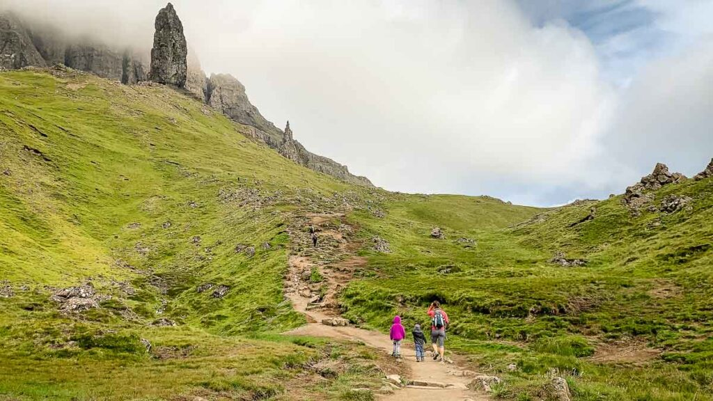 image of isle of skye hiking trail to old man of storr