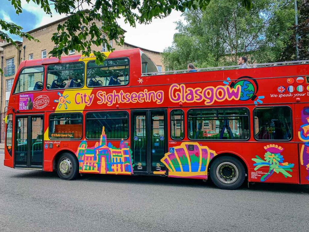 The City Sightseeing Hop-On Hop-Off Bus ws one of our kids favorite things to do in Glasgow, Scotland