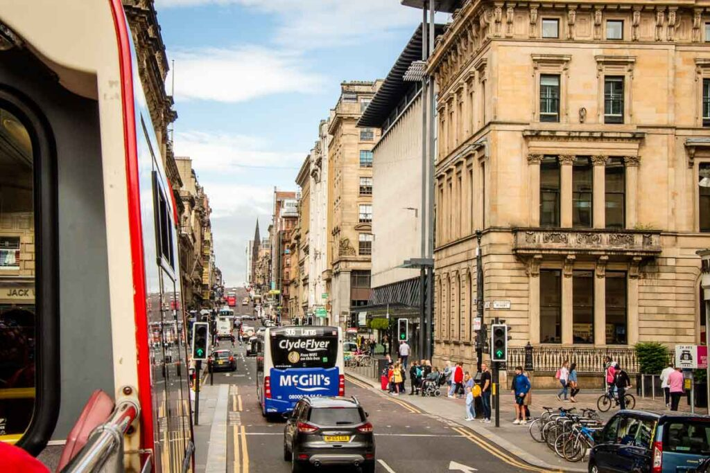 image of Glasgow city street from Hop On Hop Off Sightseeing bus