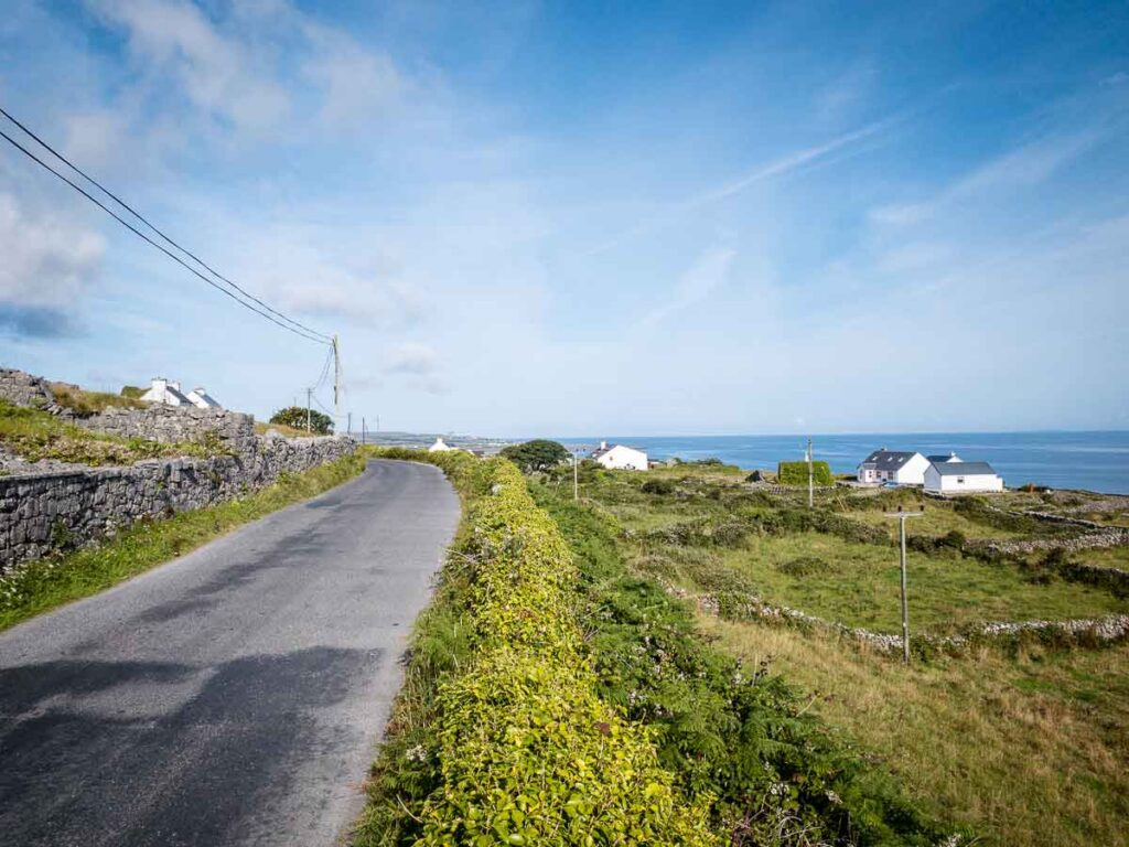 image of road with rock fence and houses on Inishmore Island Ireland