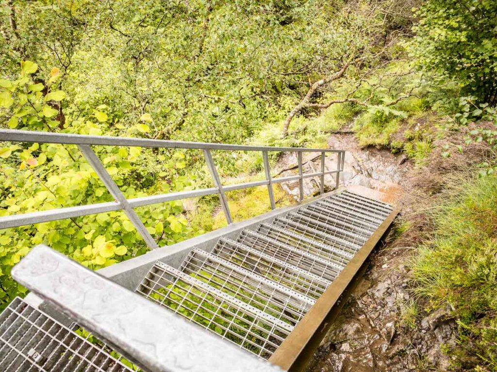 image of metal stairs on Glencoe hiking trail to Lost Valley
