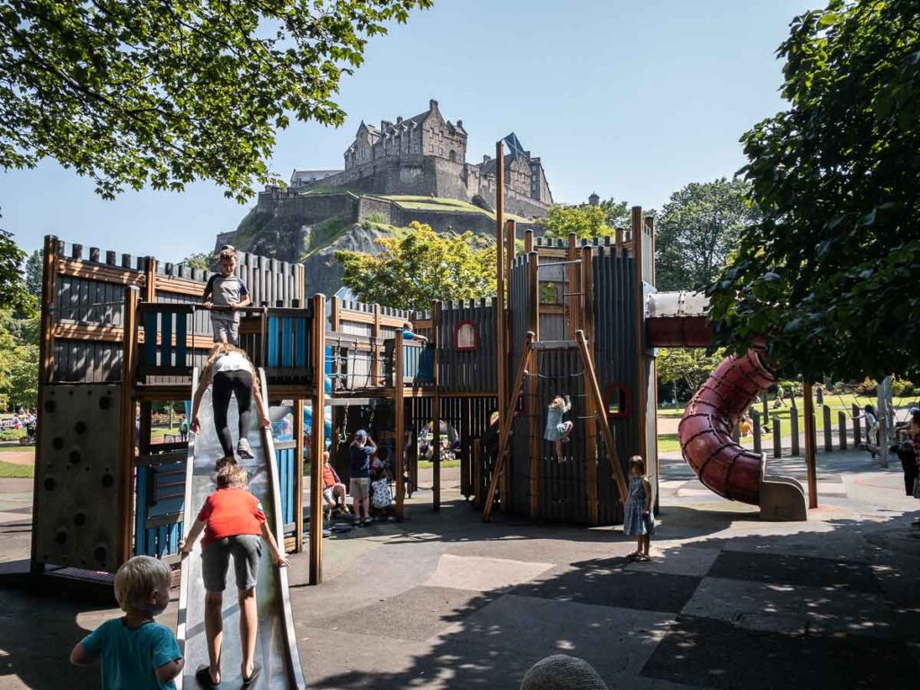 Image of playground in Princes Street Gardens in Edinburgh with Edinburgh Castle in the background