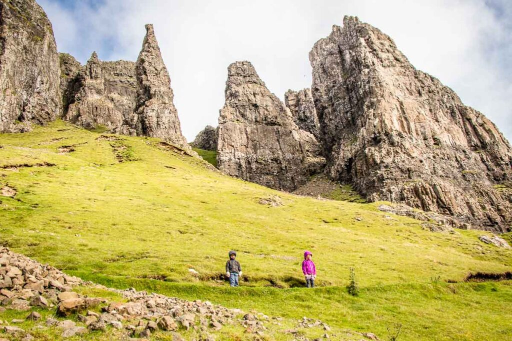 image of two kids on Quiraing hike isle of skye