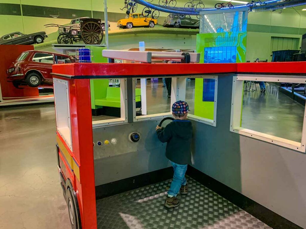 fun kids activities in Glasgow - interactive kids displays at the Museum of Transportation