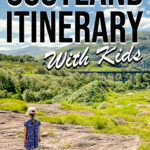 image of child near Glenfinnan Viaduct Scotland with text overlay Scotland Itinerary with Kids