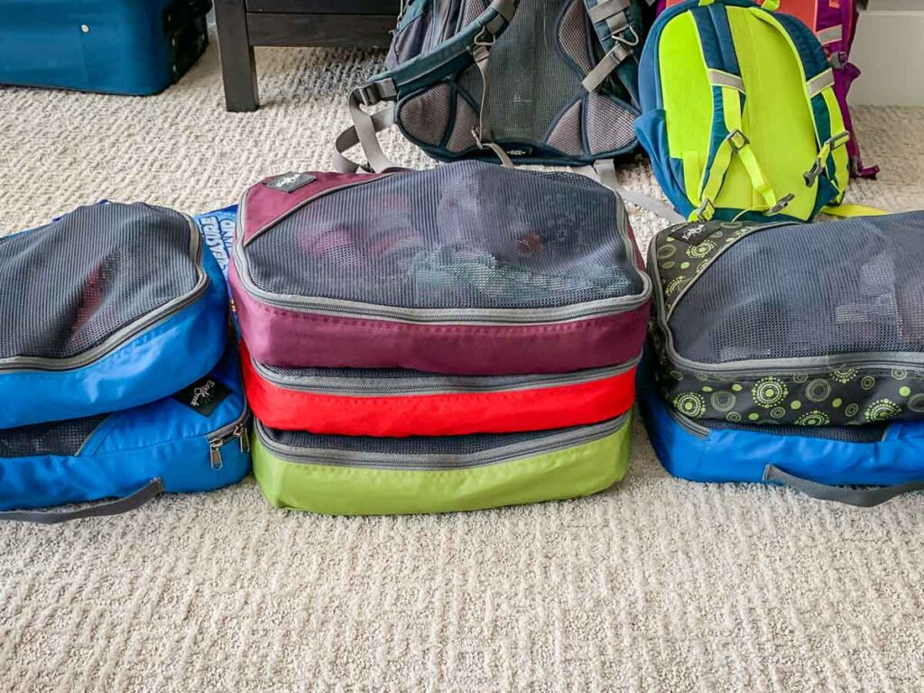 image of packing cubes used for packing for Scotland with Kids