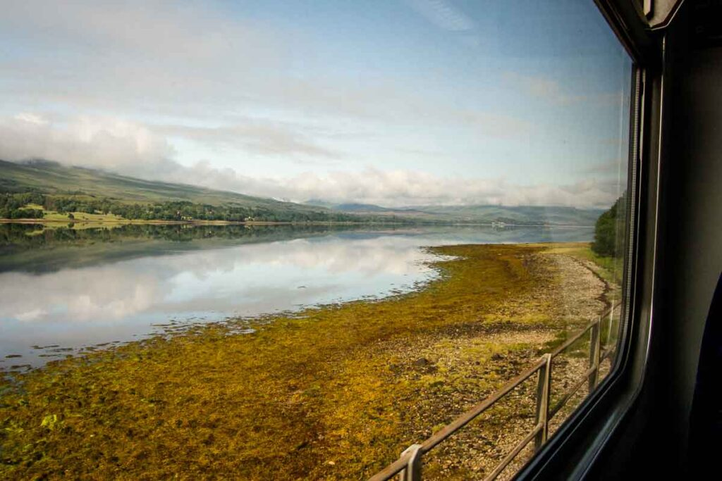 image of view from the train from Fort William to Mallaig Scotland