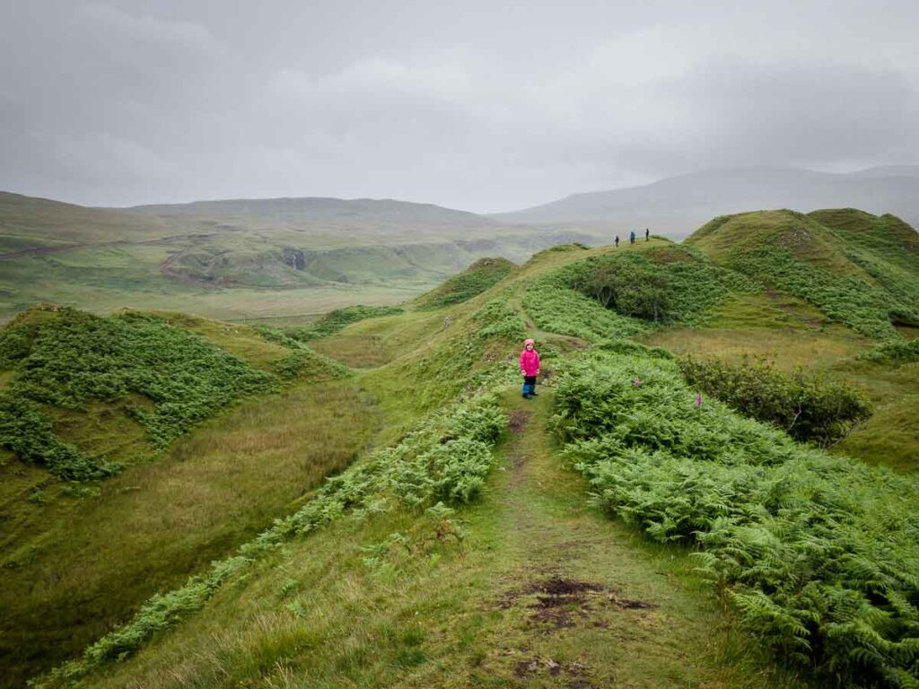 image of the green rolling hills near the Fairy Glen on Isle of Skye Scotland