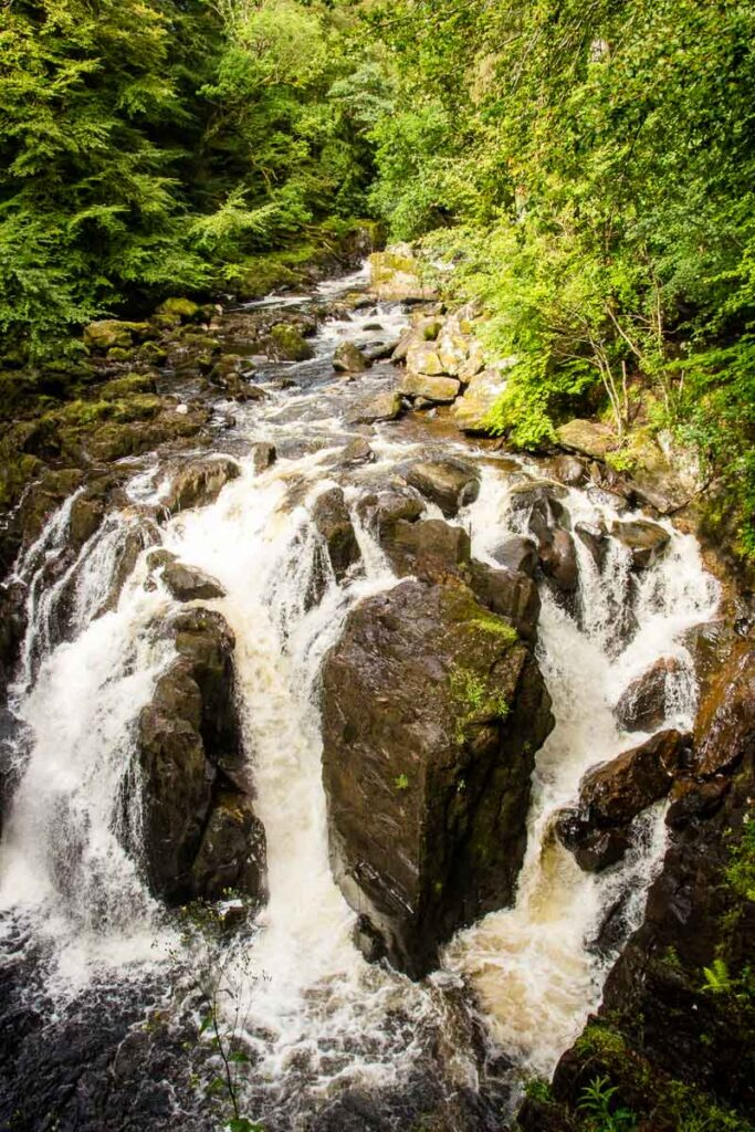 image of waterfall in Tay Forest Park along Hermitage Woodland Walk