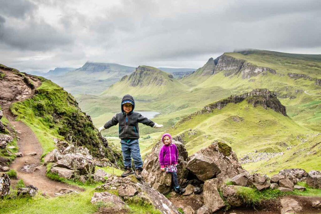 image of hiking Quiraing with kids on Isle of Skye