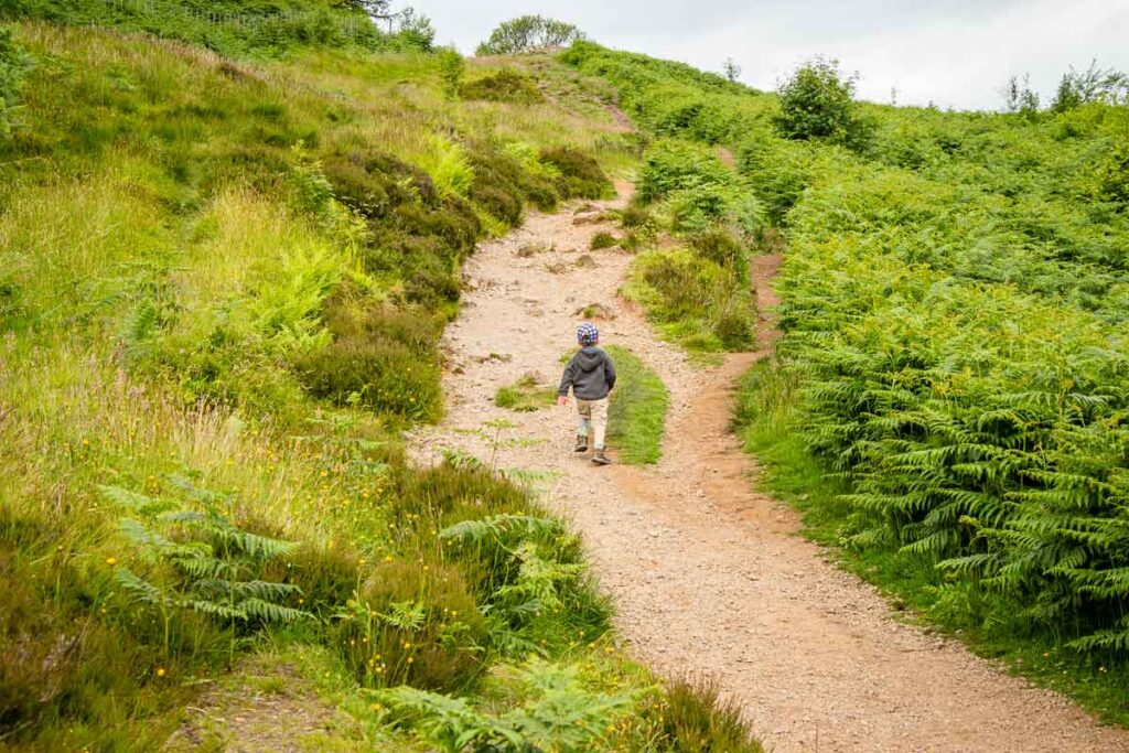 Image of boy in grey hoodie along the Whangie hike - one of Scotland walking trails