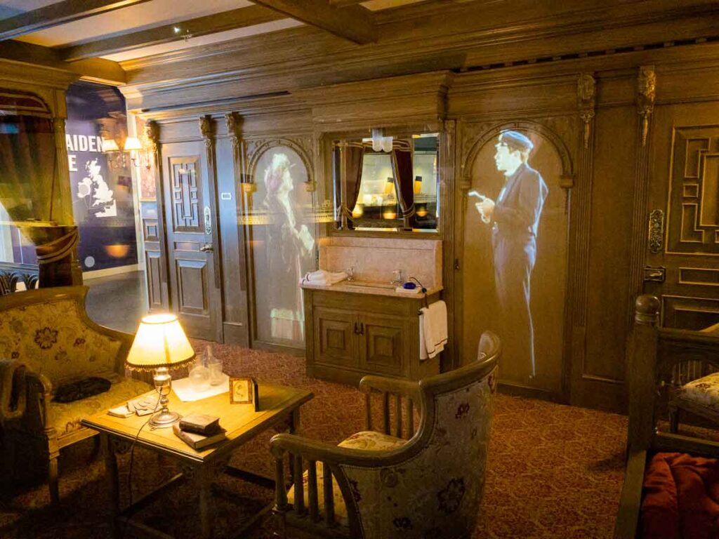image of replica of inside of the Titanic at the Titanic Belfast