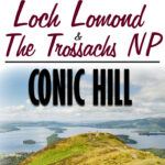 Image of Loch Lomond in Scotland with text overlay of the Best Hikes in Loch Lomond and the Trossachs National Park - Conic Hill