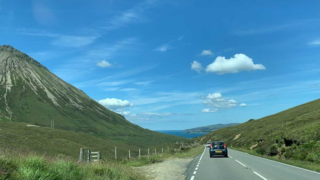 image of cars driving on the isle of skye