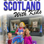 image of two kids laughing near a statue in Glasgow Scotland with text overlay of Glasgow Scotland with Kids