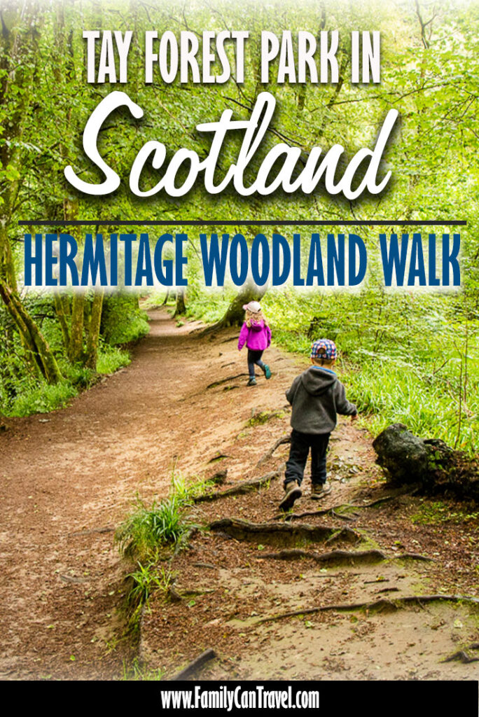 image of kids walking in Tay Forest Scotland with text overlay of Tay Forest Park Scotland - Hermitage Woodland Walk