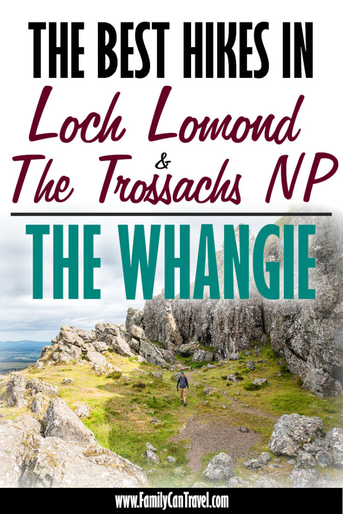 image of the Whangie with text overlay of The Best Hikes in Loch Lomond and the Trossachs National Park Scotland
