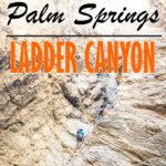 hiking in ladder canyon near palm springs with text overlay of The Best Hikes in Palm Springs Ladder Canyon