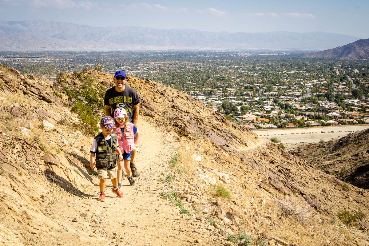 image of family hiking in Palm Springs on Cross Loop Trail