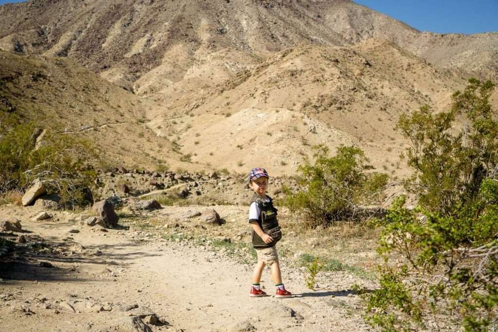 image of boy hiking in palm springs