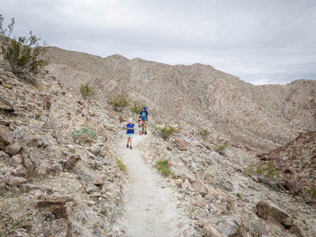 image of family hiking on one of the short hikes palm springs