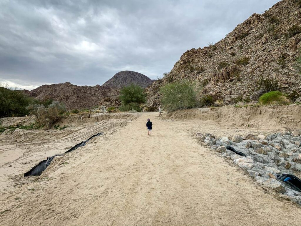 image of boy running along the start of the wilderness loop - best hikes in palm springs ca with kids