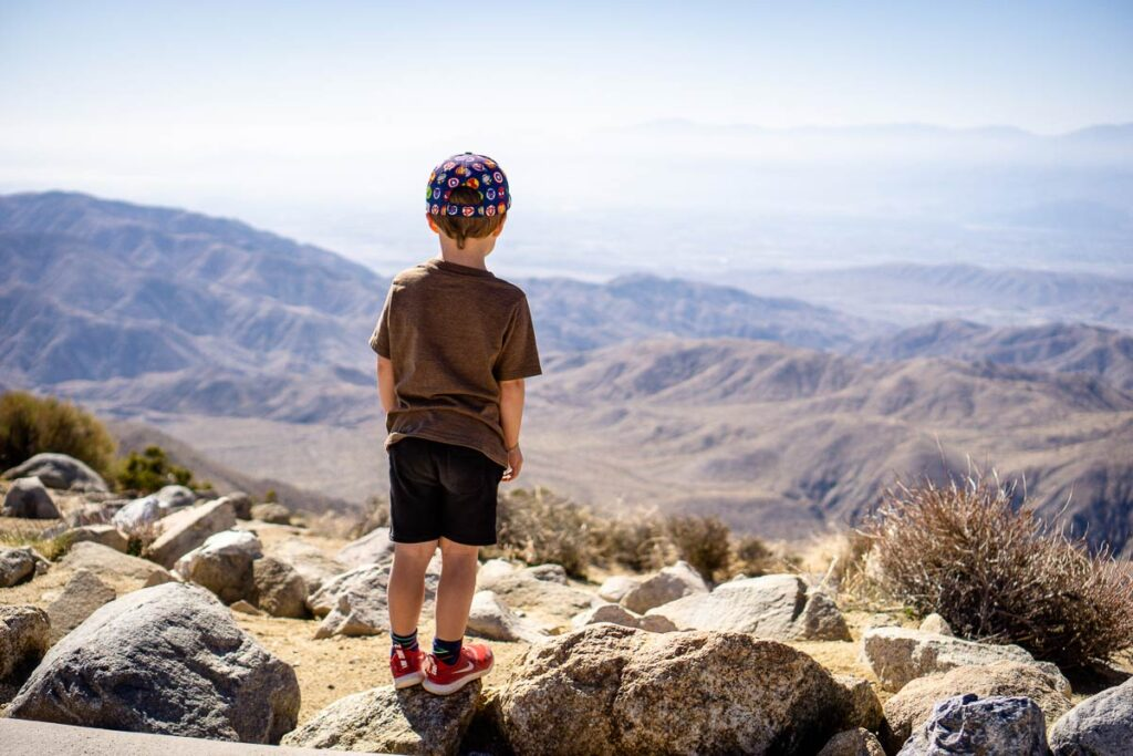 image of boy at Keys View in Joshua Tree National Park with Kids