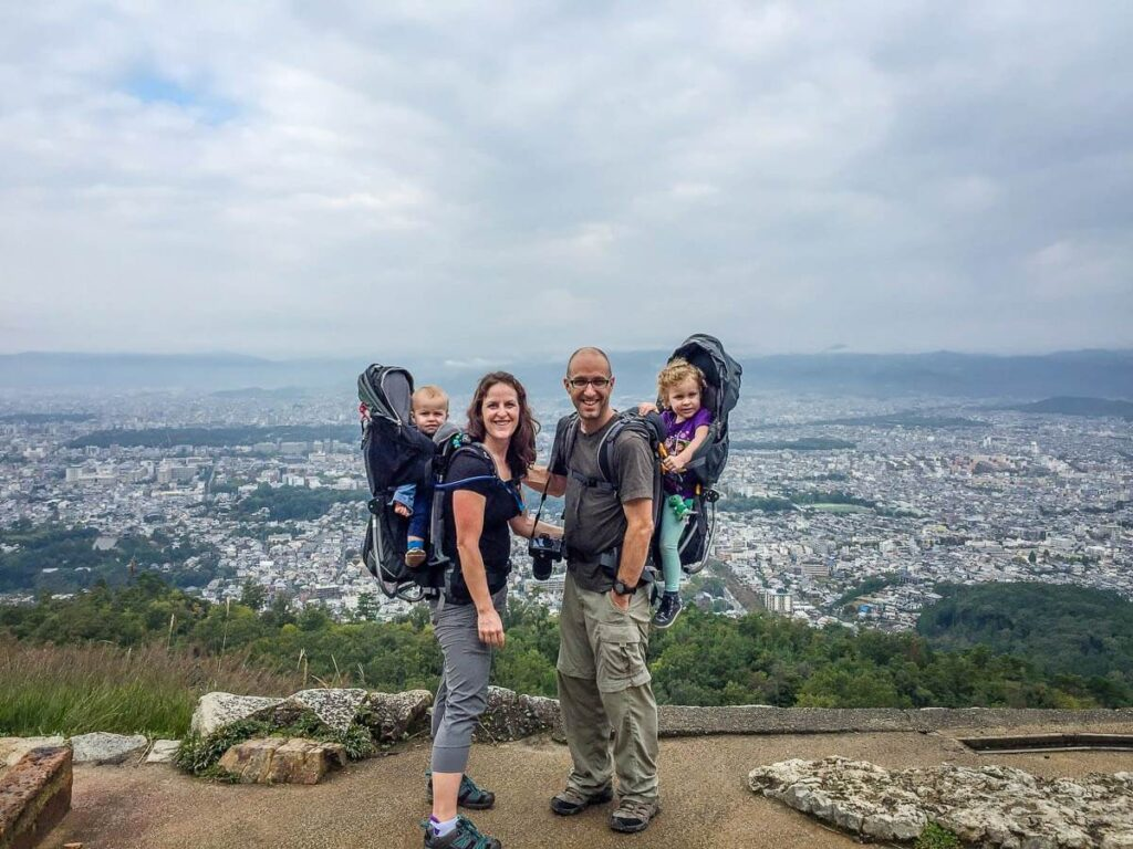 image of hiking in Kyoto Japan with kids using hiking backpack carrier