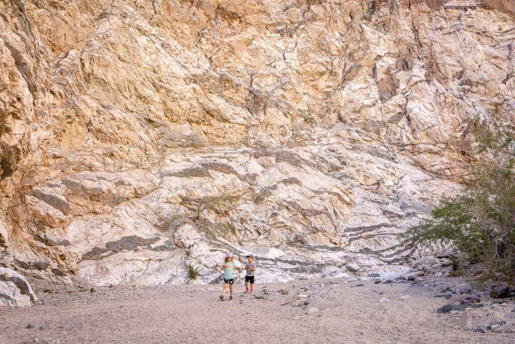 two kids hiking in painted canyon near palm springs