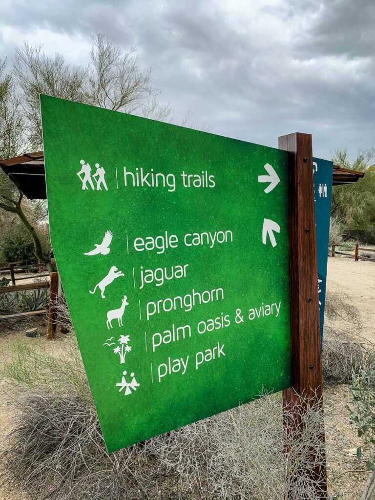 image of sign at living desert zoo for hiking trails
