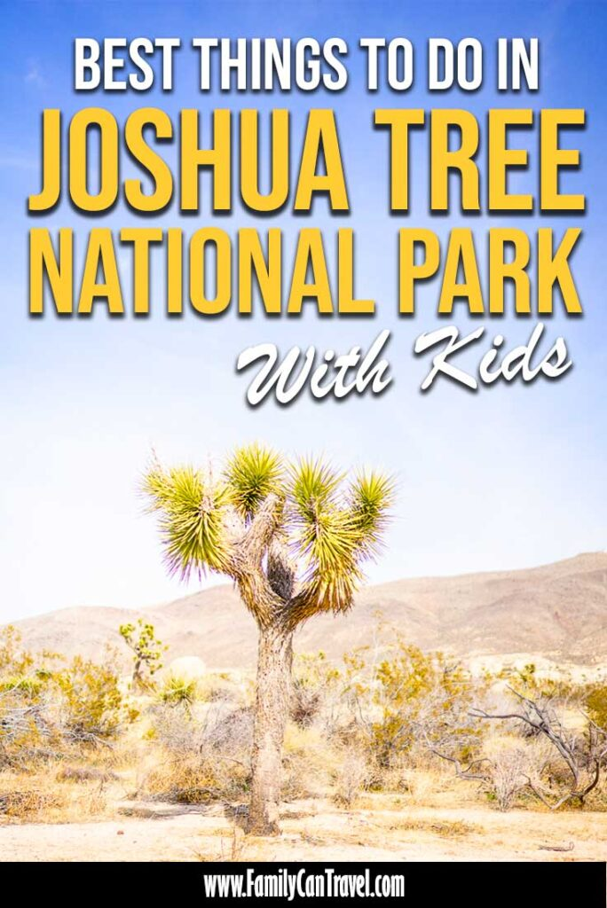 image of a joshua tree in Joshua Tree National Park with text overlay of best things to do in Joshua Tree National Park with Kids