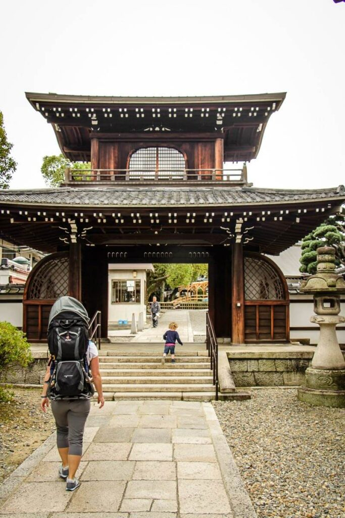 image of woman with deuter hiking backpack carrier in Kyoto Japan