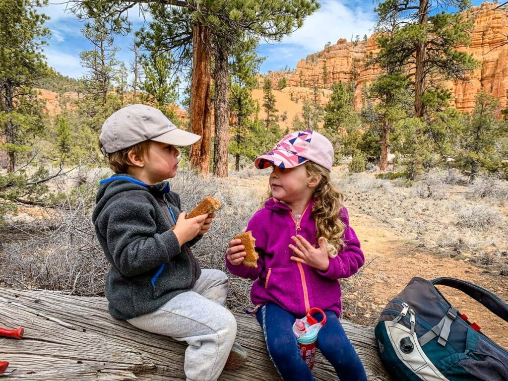 image of kids eating along hiking trail in utah