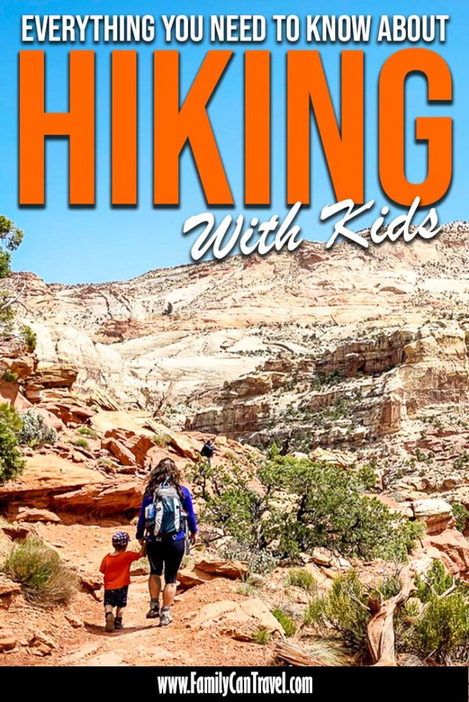 image of hiking with children in utah with text overlay of everything you need to know about hiking with kids